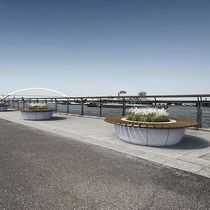 Public bench / contemporary / wooden / engineered stone