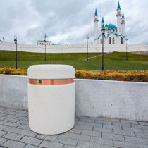 Public trash can / stainless steel / steel / copper