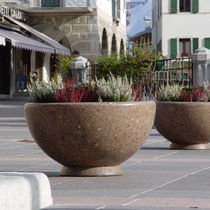 Concrete planter / marble / natural stone / round