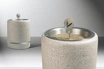 Pedestal ashtray / stainless steel / engineered stone / Bakelite®