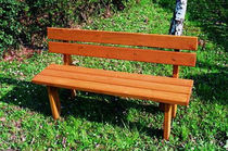 Public bench / original design / in wood / with backrest