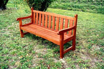Public bench / traditional / pine / with backrest