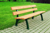Public bench / traditional / metal / in wood