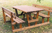 Picnic table / contemporary / pine / with attached chairs