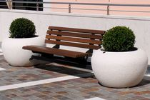 Public bench / contemporary / galvanized steel / in wood