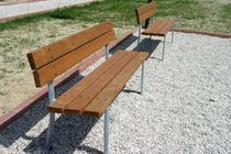 Public bench / traditional / pine / galvanized steel