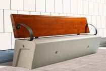 Public bench / contemporary / stone / in wood