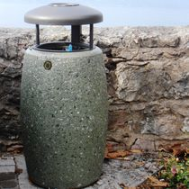 Public trash can / stainless steel / steel / concrete