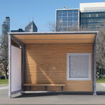 Wooden bus shelter / glass / galvanized steel