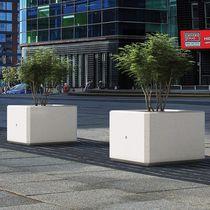 Marble planter / natural stone / square / contemporary