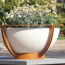 Steel planter / marble / natural stone / round