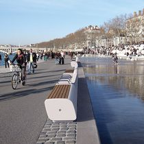 Public bench / contemporary / engineered stone / stainless steel