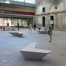 Indoor bench / public / contemporary / engineered stone