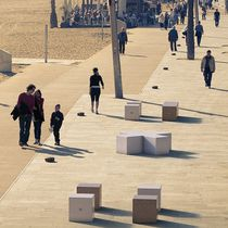 Contemporary stool / marble / engineered stone / modular