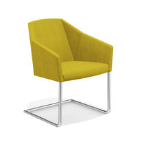 Contemporary visitor chair / with armrests / cantilever / sled base