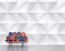 Geometric wallpaper / paper / contemporary / white
