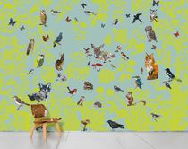 Traditional wallpaper / multi-color / nature pattern / animal motif