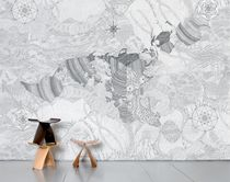 Contemporary wallpapers / map / black / non-woven
