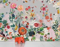 Floral wallpaper / paper / contemporary / gray