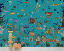 Contemporary wallpapers / animal motif / nature pattern / blue