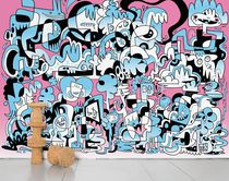 Contemporary wallpaper / sketch / multi-color / non-woven