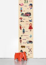 Contemporary wallpaper / multi-color / text / printed
