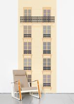 Contemporary wallpaper / multi-color / urban motif / printed
