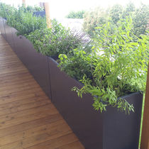 Fiber cement planter / rectangular / custom / wheeled
