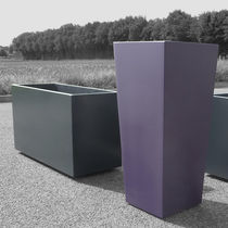 Fiber cement planter / rectangular / wheeled / contemporary