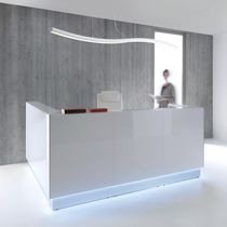 Corner reception desk / glass / laminate / stainless steel