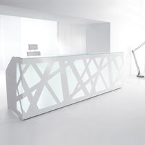 Plexiglas® reception desk / metal / glass / MDF