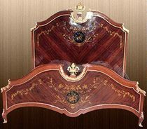 Double bed / Louis XV style / with headboard / wooden