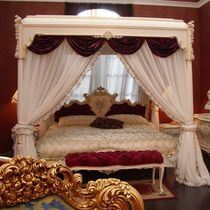 Canopy bed / double / classic / with upholstered headboard