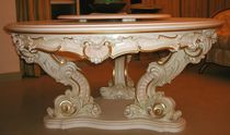 Louis XV style dining table / wooden / round / handmade