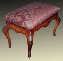 Louis XV style upholstered bench / fabric / wooden / metal