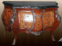 Baroque style chest of drawers / wooden / metal / marble