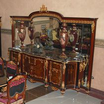 Classic sideboard / wooden / metal / with glass panel