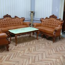 Louis XV style sofa / leather / wooden / 2-seater