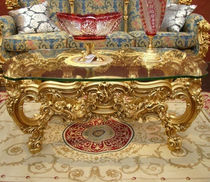 Louis XV style coffee table / wooden / glass / rectangular