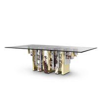 Original design dining table / tempered glass / polished brass / rectangular