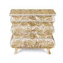 Original design bedside table / wooden / brass / rectangular