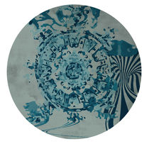 Contemporary rug / patterned / wool / round