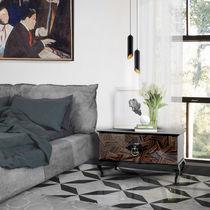 Original design bedside table / wood veneer / mahogany / rectangular