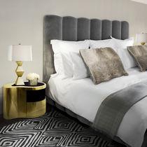Original design bedside table / wooden / glass / polished brass