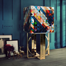 Contemporary bar cabinet / lacquered wood / patinated wood / polished brass