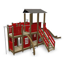 Wooden play structure / metal / for playgrounds