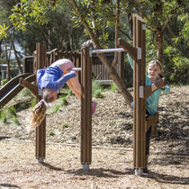 Metal pull-up bar / wooden / for playgrounds / double