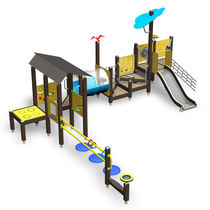 Wooden play structure / HPL / for playgrounds / handicapped