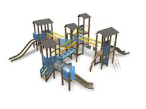 Wooden play structure / HPL / for playgrounds / modular
