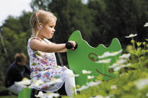 Wooden spring rocker / animals / monoplace